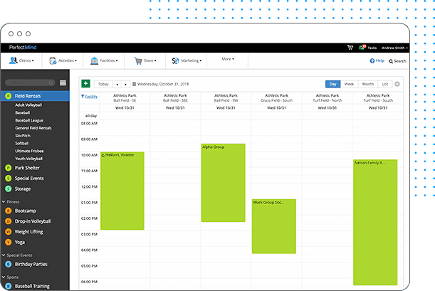 screenshot of class and activity management