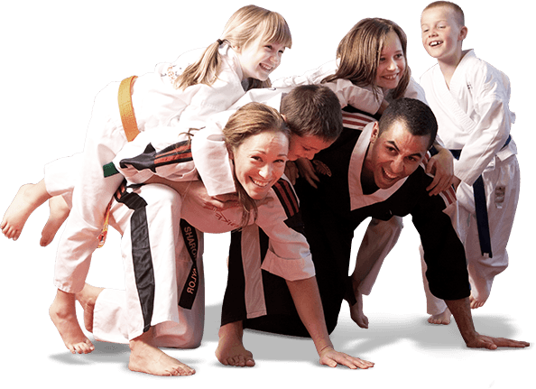 martial arts instructors playing with students