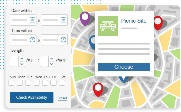 screenshot of calendar and facility maps in facility management software